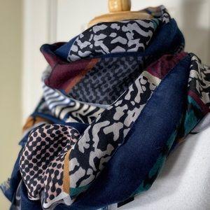 Joy Susan Blue gray BoHo Aztec pattern scarf NWT